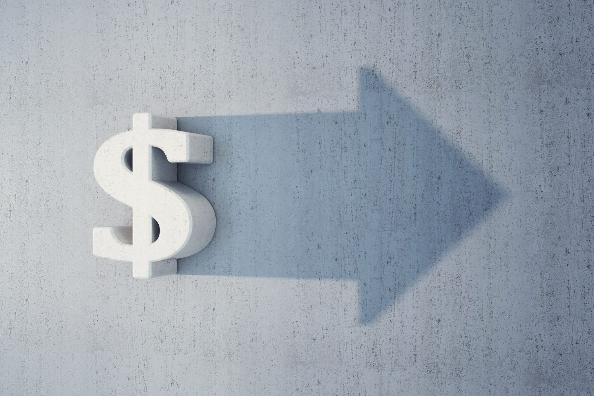 dollar sign with arrow to depict transferring or moving money