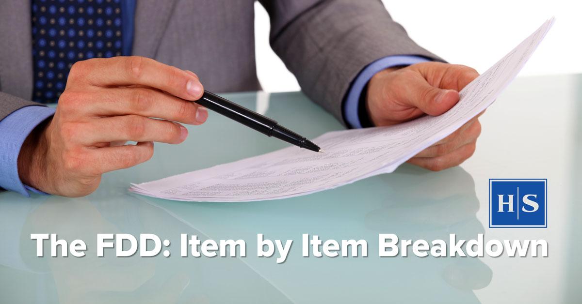 fdd item by item breakdown by franchise attorney joel d rosen