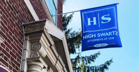 High Swartz Law Firm flag in norristown Pa