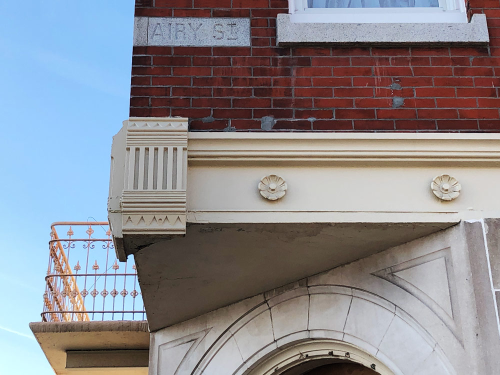 Original trimwork and columns were refinished and restored.