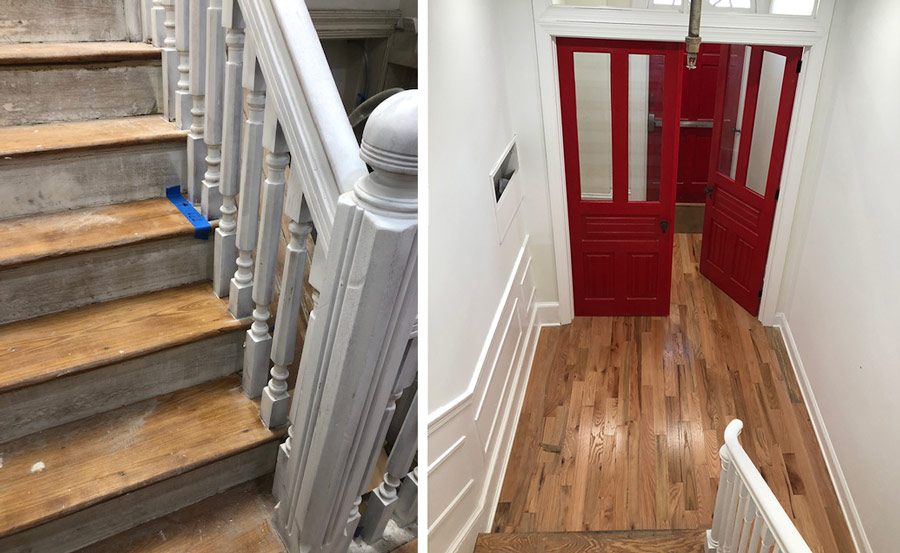 Left: Restoration of original railings and stairsteps. Right: Reclaimed victorian doors finished in original red paint on top of newly installed solid oak floors.
